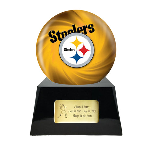 Football Cremation Urn and Pittsburgh Steelers Ball Decor with Custom Metal Plaque