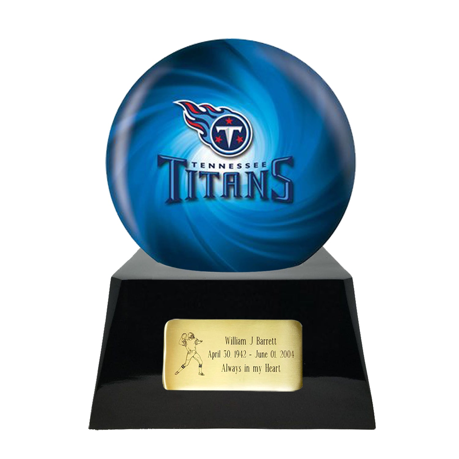 Football Cremation Urn and Tennessee Titans Ball Decor with Custom Metal Plaque