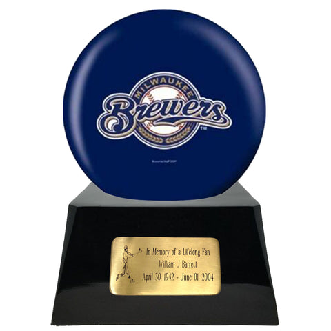 Baseball Cremation Urn With Optional Milwaukee Brewers Ball Decor and Custom Metal Plaque