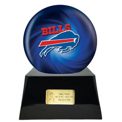 Football Cremation Urn and Buffalo Bills Ball Decor with Custom Metal Plaque