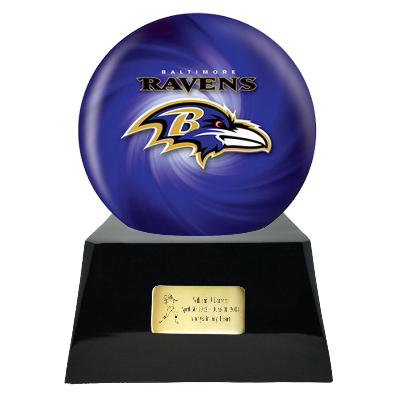 Football Cremation Urn and Baltimore Ravens Ball Decor with Custom Metal Plaque