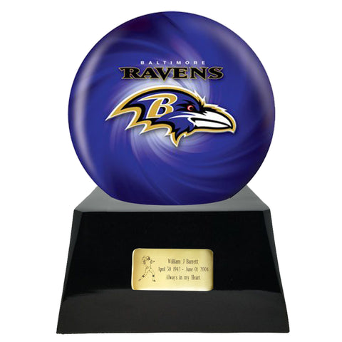 Football Cremation Urn with Optional Baltimore Ravens Ball Decor and Custom Metal Plaque