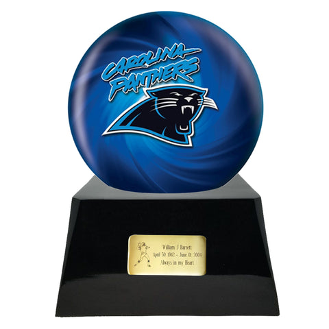 Football Cremation Urn and Carolina Panthers Ball Decor with Custom Metal Plaque
