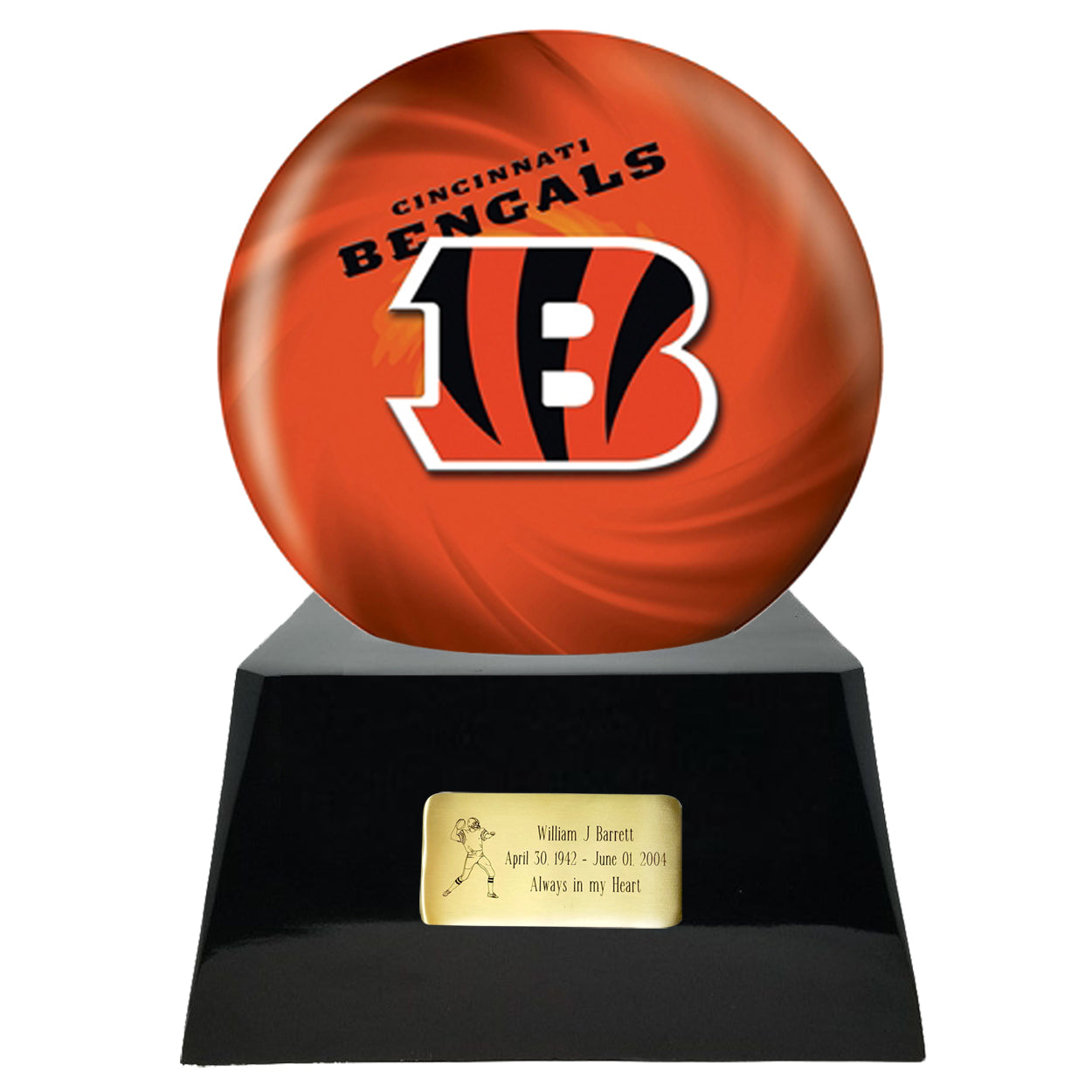 Football Team Cremation Urn - Football Cremation Urn and Cincinnati Bengals Ball Decor with Custom Metal Plaque