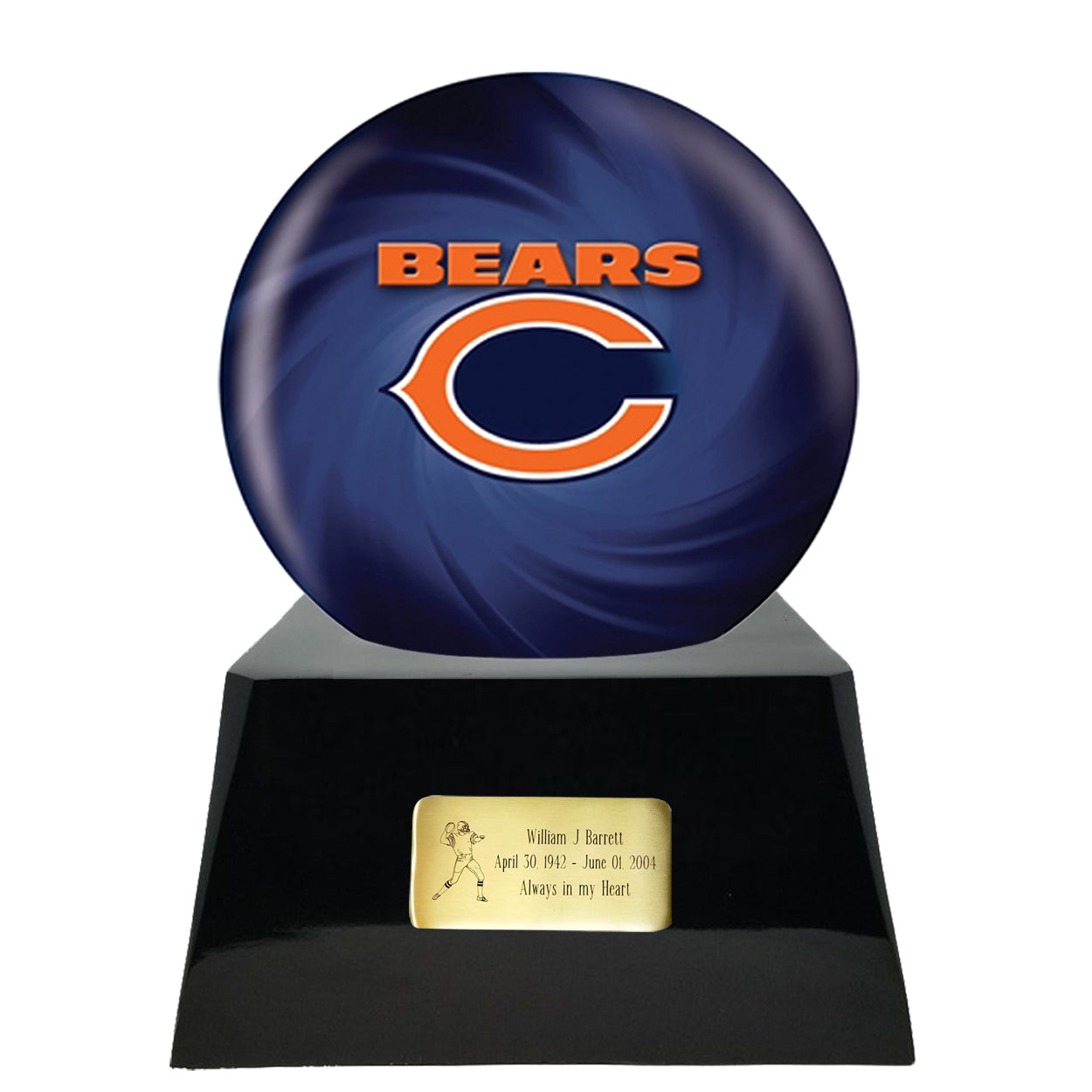 Football Team Cremation Urn - Football Cremation Urn and Chicago Bears Ball Decor with Custom Metal Plaque data-image-id=