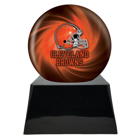 Football Cremation Urn with Optional Cleveland Browns Ball Decor and Custom Metal Plaque
