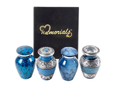 Set of 4 Beautiful Shades of Blue Keepsakes,  - Memorials4u