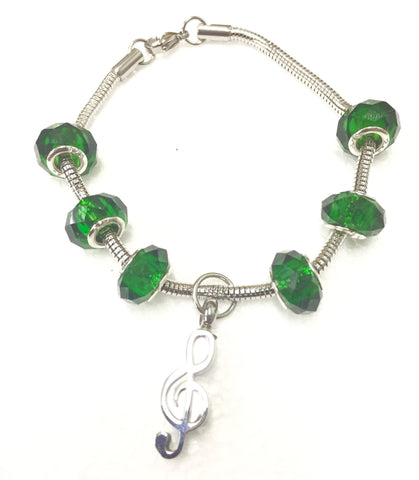 """Emerald Green"" murano bead cremation Bracelet"