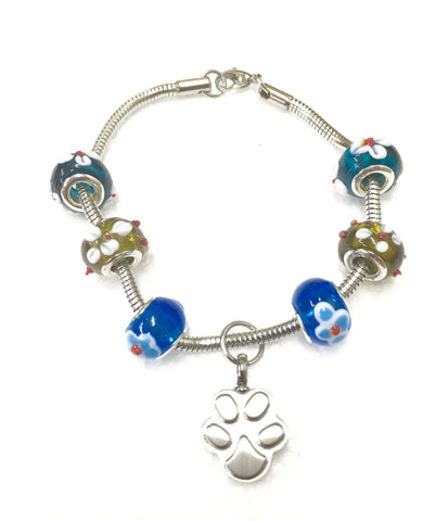 """Lily on the bead"" murano bead cremation Bracelet"