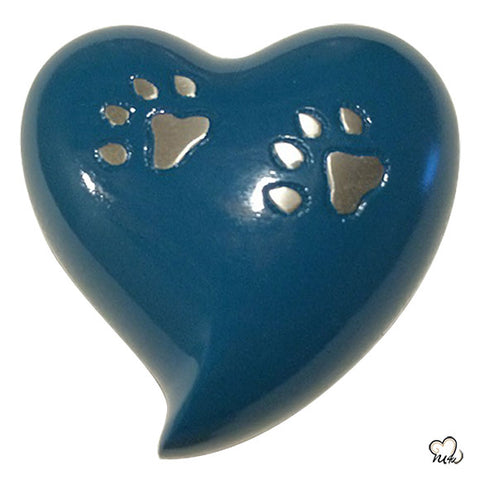Blue Paw Inlaid Pet Cremation Urn For Ashes