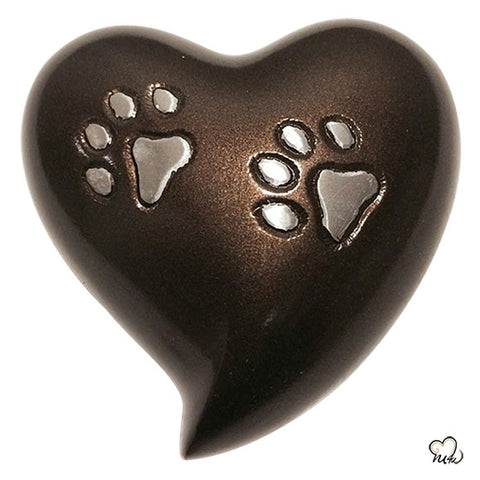 Pet Keepsake Heart Urn in Brown