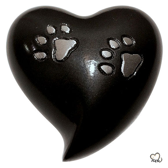 Heart Shaped Paw Inlaid Pet Cremation Urn in Grey