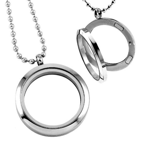 Circular Locket Stainless Steel Cremation Keepsake Pendant, Cremation Pendant - Memorials4u