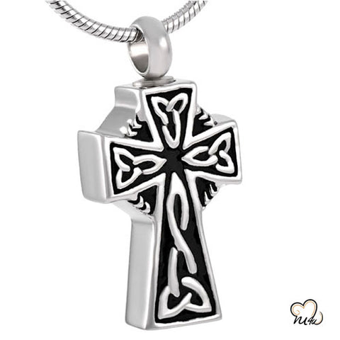 Celtic Cross Cremation Jewelry Keepsake Pendant