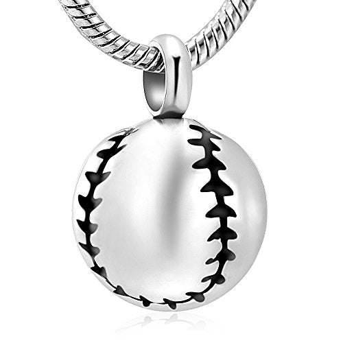 Baseball Stainless Steel Cremation Pendant
