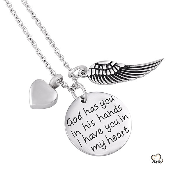 God Has you in his Hands Poetry Memorial Pendant - Circle