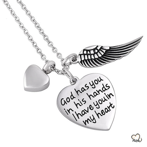 God Has you in his Hands Poetry Memorial Pendant - Heart
