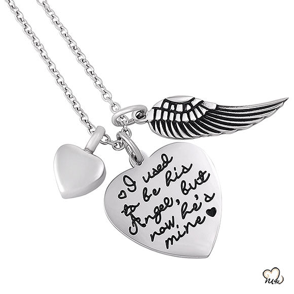 I used to be his Angel Poetry Memorial Pendant - Heart