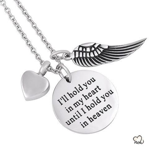 I will Hold you in my heart Poetry Memorial Pendant - Circle
