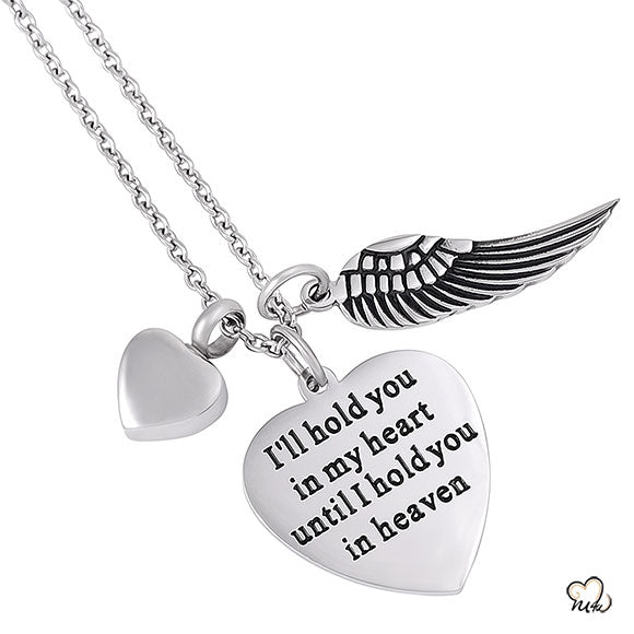 I will Hold you in my heart Poetry Memorial Pendant - Heart