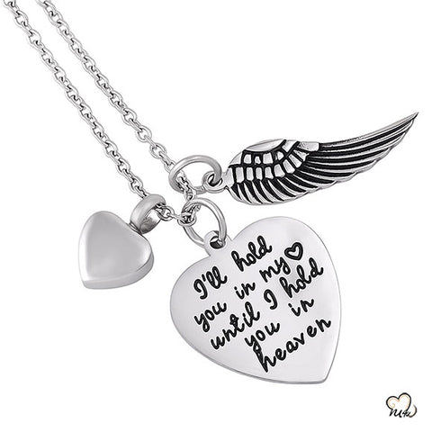 I will Hold you in my H Poetry Memorial Pendant - Heart