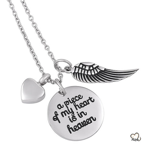 A piece of my heart Poetry Memorial Pendant - Circle