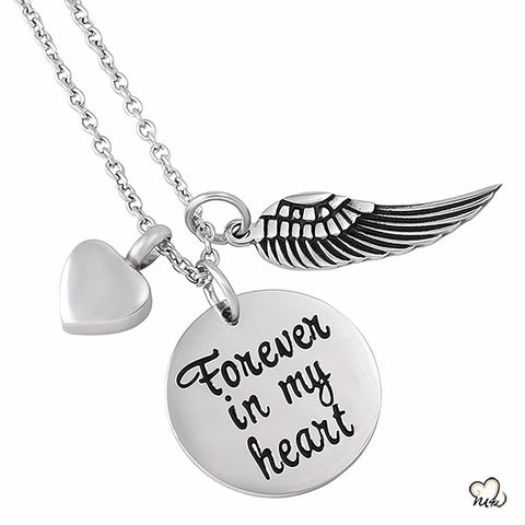 Forever in my Heart Poetry Memorial Pendant - Circle