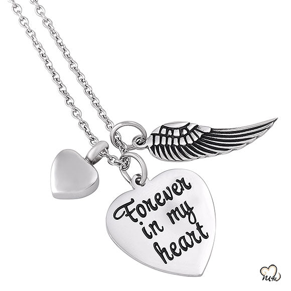 Forever in my Heart Poetry Memorial Pendant - Heart