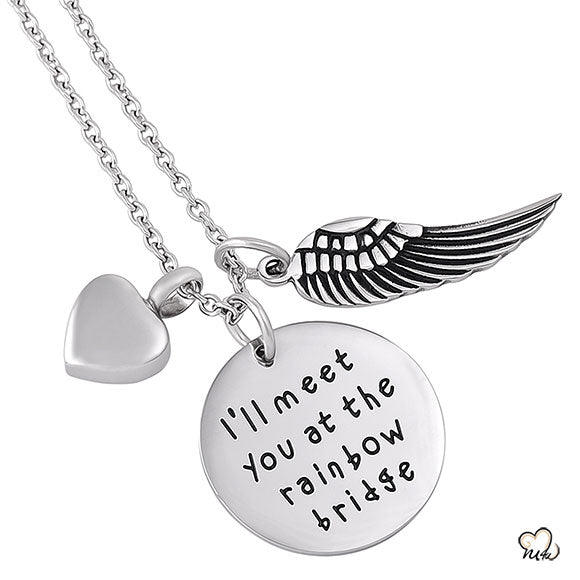 I will meet you Poetry Memorial Pendant - Circle