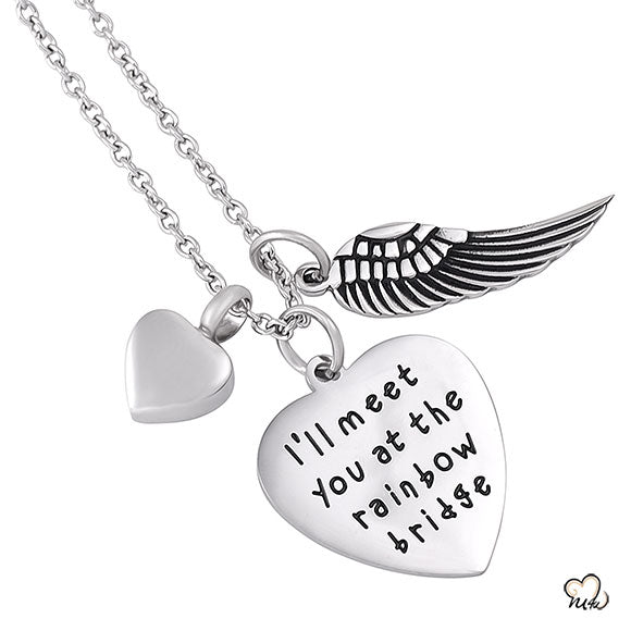 I will meet you Poetry Memorial Pendant - Heart