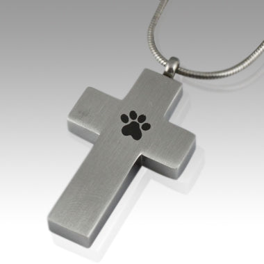 Paw Cross Stainless Steel Cremation Keepsake Pendant
