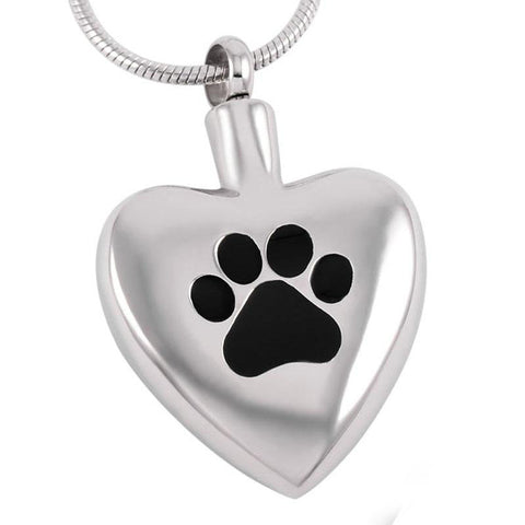 Paw Heart Stainless Steel Cremation Pendant