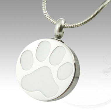 White Paw Stainless Steel Cremation Keepsake Pendant