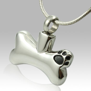 Paw on Dog Bone Stainless Steel Keepsake Pendant Cremation Jewelry