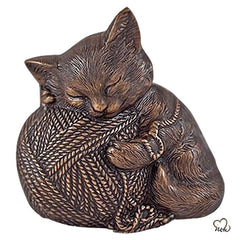 Pet Urn - Sleeping Cat Urn For Cats Ashes - Metal Urn with Copper Finish - Memorials4u