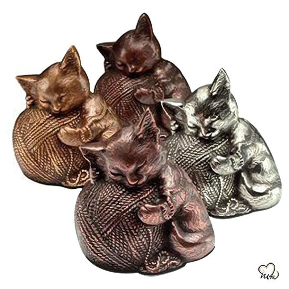Sleeping Cat Cremation Urn For Ashes in Silver