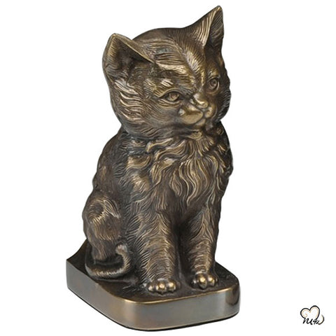 Sitting Cat Urn For Ashes in Bronze