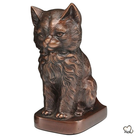 Sitting Cat Urn For Ashes in Red