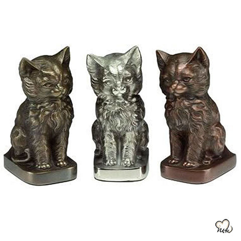 Sitting Cat Pet Cremation Urn for Ashes in Copper
