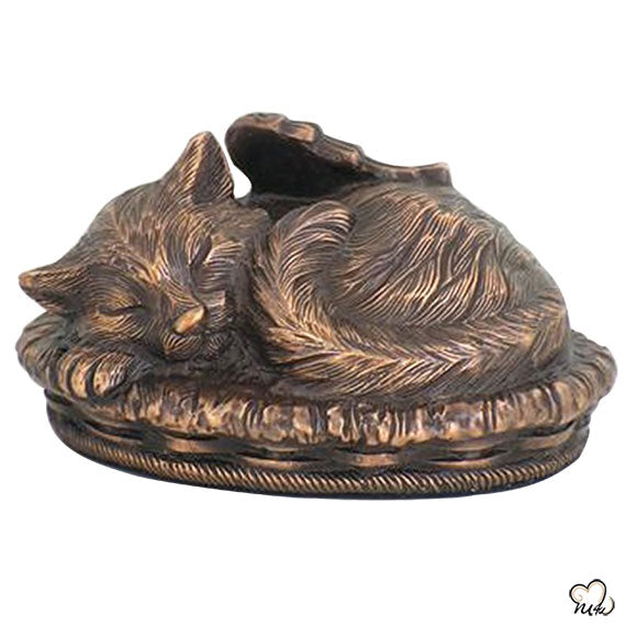 Sleeping Cat Angle Pet Cremation Urn For Ashes in Bronze