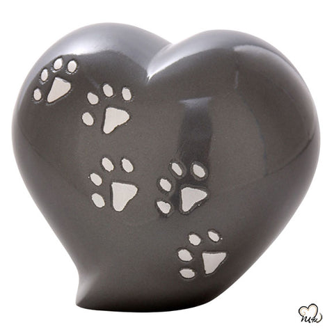 Pet Keepsake Heart Urn in Grey