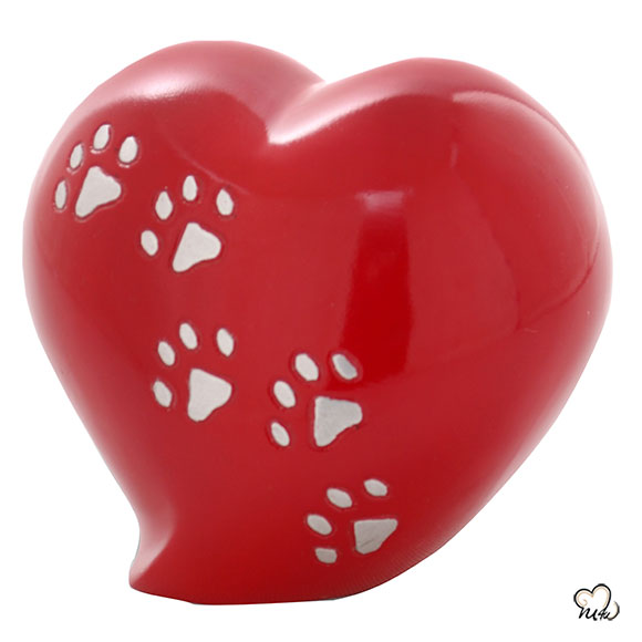 Heart Shaped Paw Inlaid Pet Cremation Urn in Red