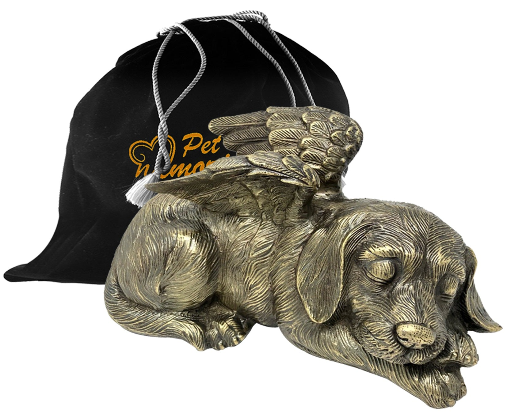 Pet Urn - Sleeping Dog Urn For Dogs Ashes - Metal Urn with Bronze Finish - Memorials4u