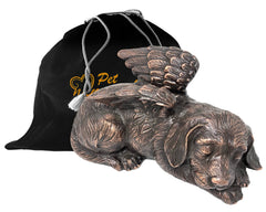 Pet Urn - Sleeping Dog Urn For Dogs Ashes - Metal Urn with Copper Finish - Memorials4u