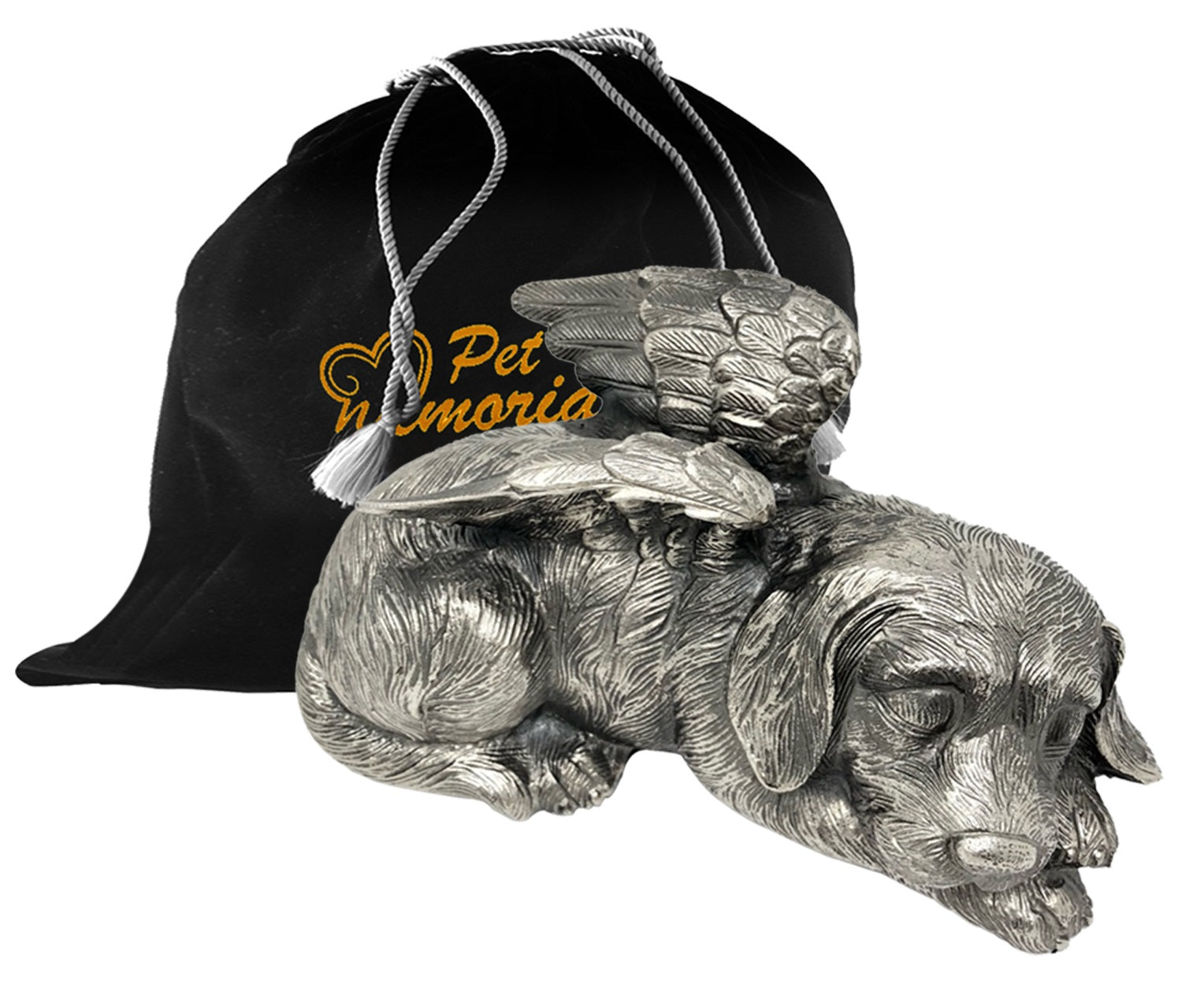 Pet Urn - Sleeping Dog Urn For Dogs Ashes - Metal Urn with Pewter Finish - Memorials4u