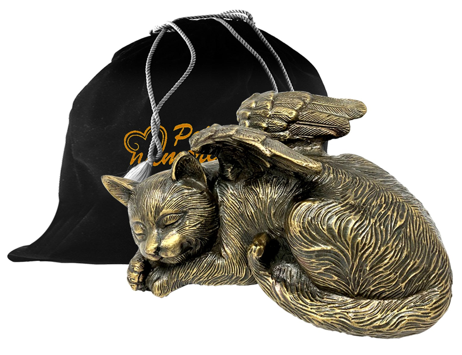 Pet Urn - Sleeping Cat Urn For Cats Ashes - Metal Urn with Bronze Finish - Memorials4u
