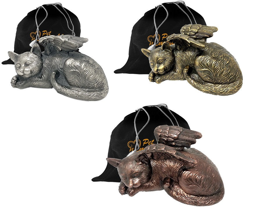 Pet Urn - Sleeping Cat Urn For Cats Ashes - Metal Urn with Copper, Bronze, and Silver Finish - Memorials4u