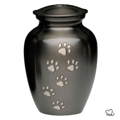 Classic Paw Print Inlaid Pet Cremation Urn For Ashes in Medium Size