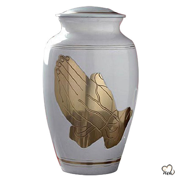 Classic Praying Hands Religious Brass Cremation Urn