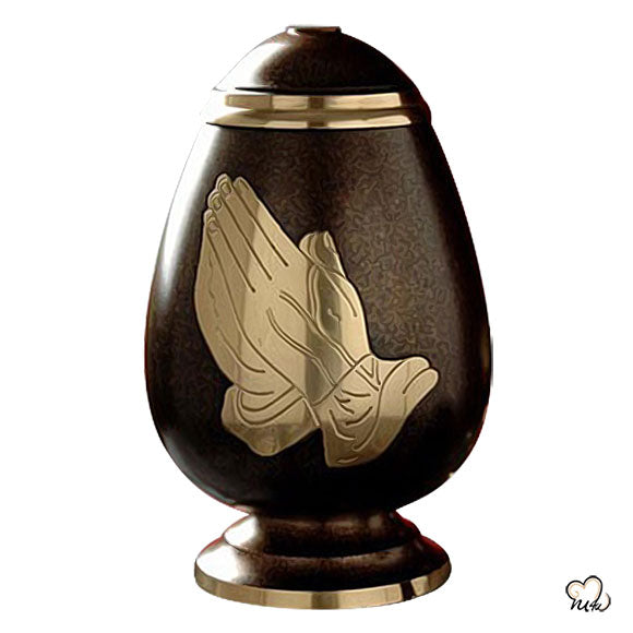 Praying Hands Religious Brass Cremation Urn